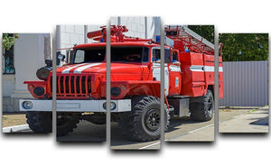 Fire Truck In The City 5 Split Panel Canvas  - Canvas Art Rocks - 1