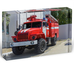Fire Truck In The City Acrylic Block - Canvas Art Rocks - 1