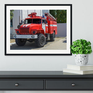 Fire Truck In The City Framed Print - Canvas Art Rocks - 1
