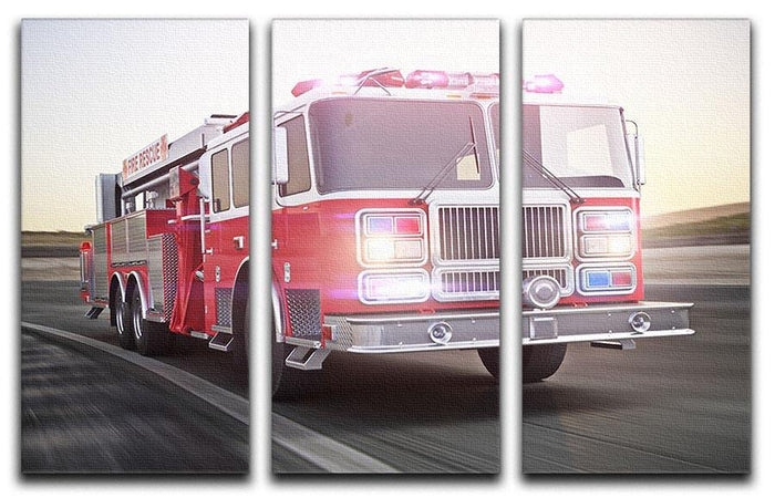 Fire truck running with lights and sirens 3 Split Panel Canvas Print