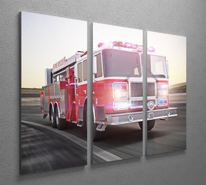 Fire truck running with lights and sirens 3 Split Panel Canvas Print - Canvas Art Rocks - 2