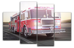 Fire truck running with lights and sirens 4 Split Panel Canvas  - Canvas Art Rocks - 1