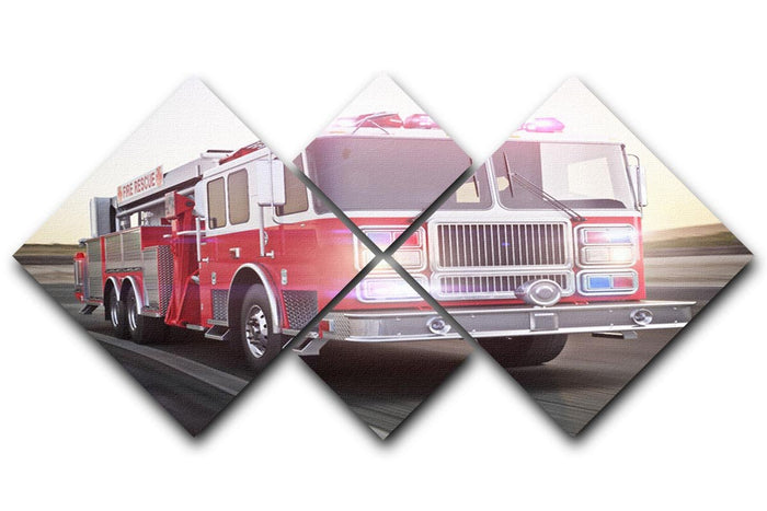 Fire truck running with lights and sirens 4 Square Multi Panel Canvas