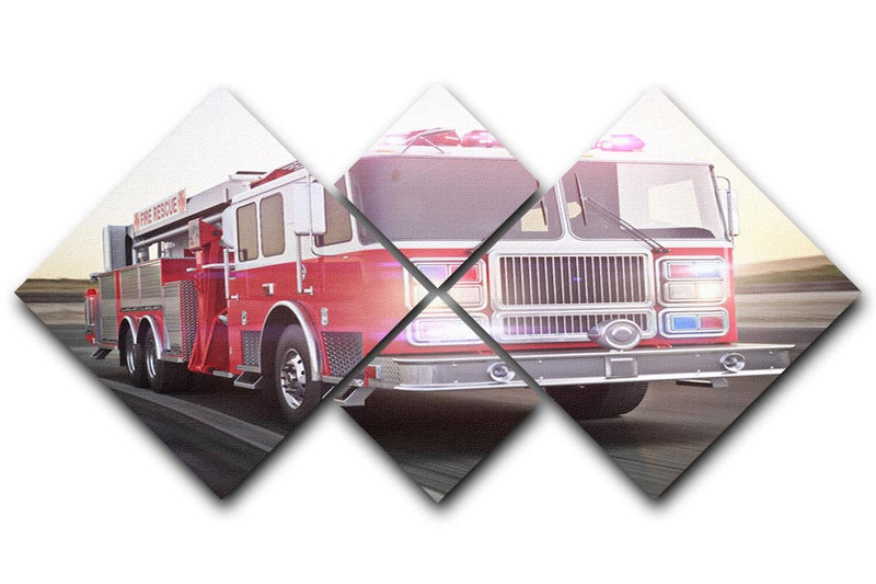 Fire truck running with lights and sirens 4 Square Multi Panel Canvas  - Canvas Art Rocks - 1