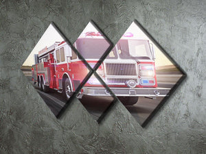 Fire truck running with lights and sirens 4 Square Multi Panel Canvas  - Canvas Art Rocks - 2