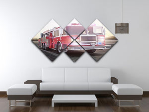Fire truck running with lights and sirens 4 Square Multi Panel Canvas  - Canvas Art Rocks - 3