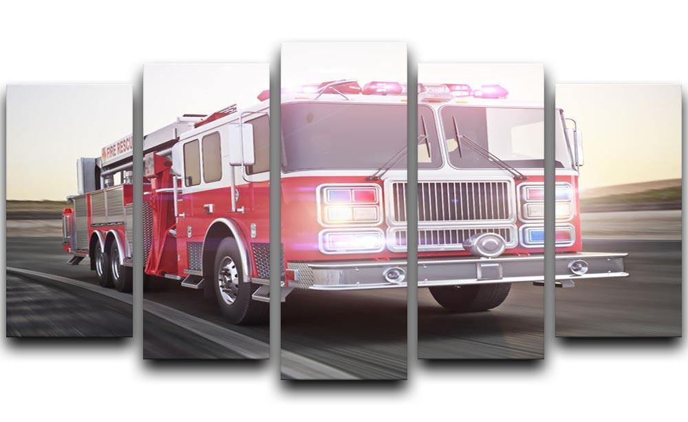 Fire Truck Running With Lights And Sirens 5 Split Panel Canvas