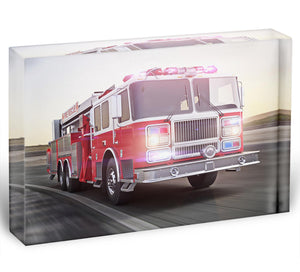 Fire truck running with lights and sirens Acrylic Block - Canvas Art Rocks - 1