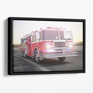 Fire truck running with lights and sirens Floating Framed Canvas