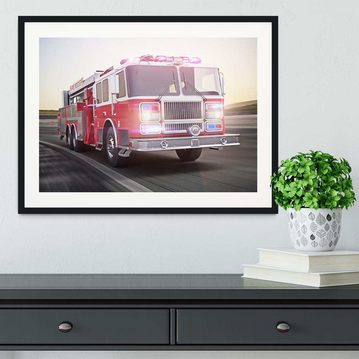 Fire Truck Running With Lights And Sirens Framed Print