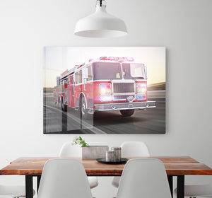 Fire truck running with lights and sirens HD Metal Print