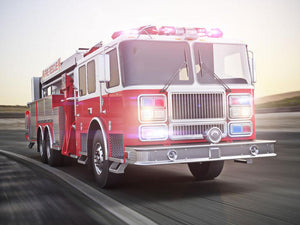 Fire truck running with lights and sirens Wall Mural Wallpaper - Canvas Art Rocks - 1