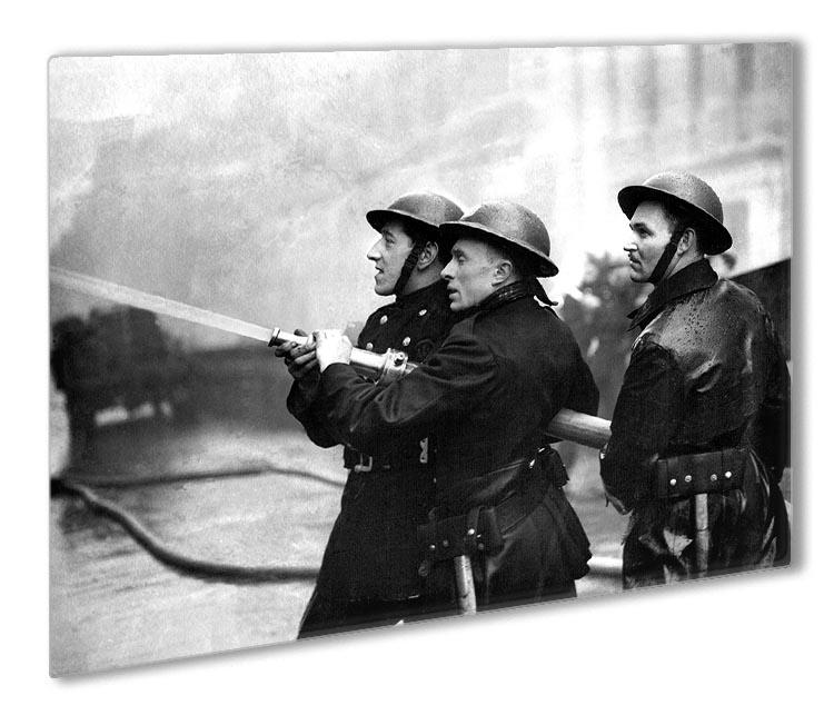 Firefighters morning after air raids London Outdoor Metal Print - Canvas Art Rocks - 1