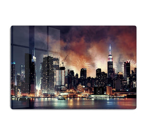 Fireworks show with Manhattan skyscrapers HD Metal Print