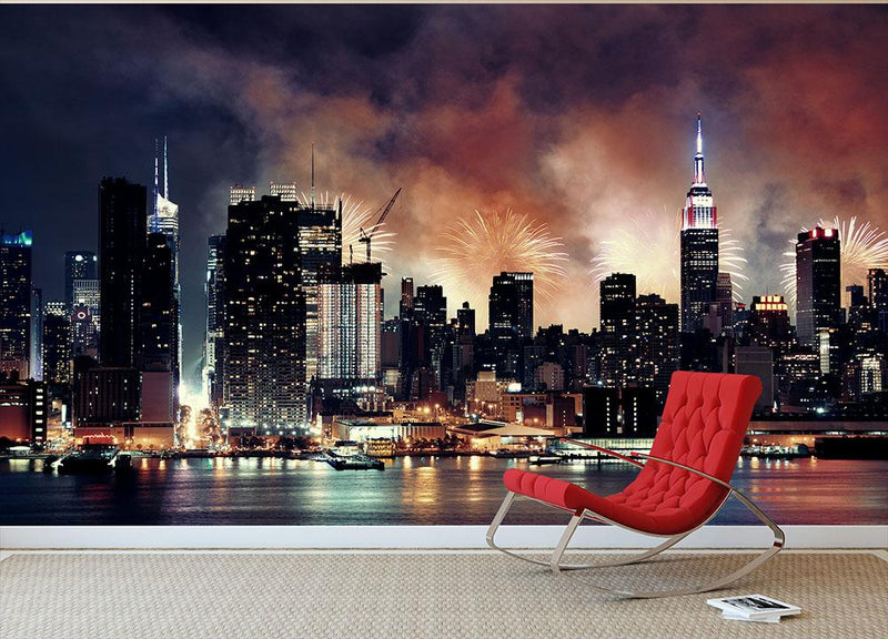 Fireworks show with Manhattan skyscrapers Wall Mural Wallpaper - Canvas Art Rocks - 1