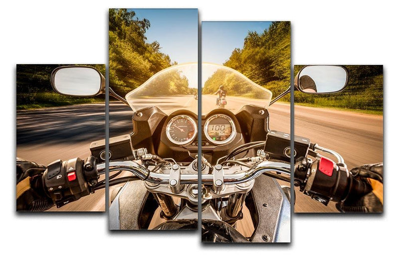 First Person Motorbike Ride 4 Split Panel Canvas  - Canvas Art Rocks - 1