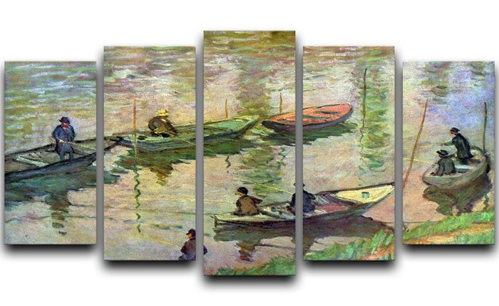 Fishermen on the Seine at Poissy by Monet 5 Split Panel Canvas