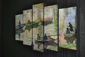 Fishermen on the Seine at Poissy by Monet 5 Split Panel Canvas - Canvas Art Rocks - 2