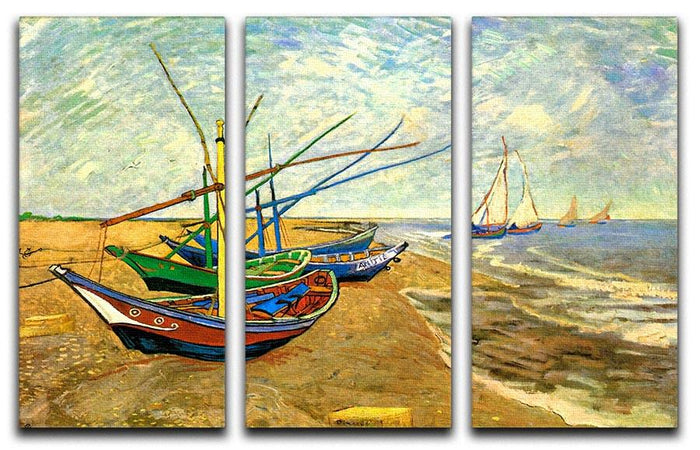Fishing Boats on the Beach at Saintes-Maries by Van Gogh 3 Split Panel Canvas Print