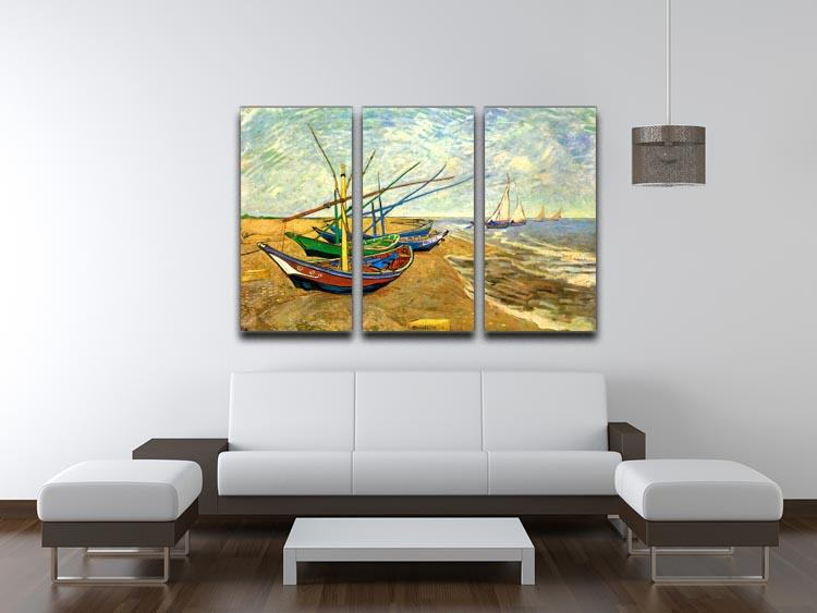 Fishing Boats on the Beach at Saintes-Maries by Van Gogh 3 Split Panel Canvas Print - Canvas Art Rocks - 4