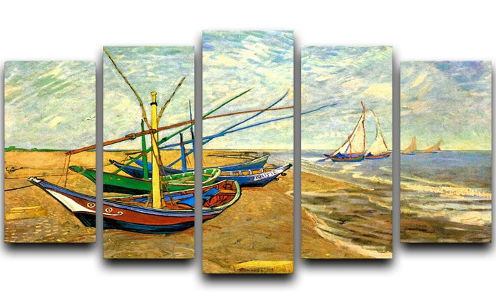 Fishing Boats on the Beach at Saintes-Maries by Van Gogh 5 Split Panel Canvas