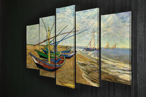 Fishing Boats on the Beach at Saintes-Maries by Van Gogh 5 Split Panel Canvas - Canvas Art Rocks - 2