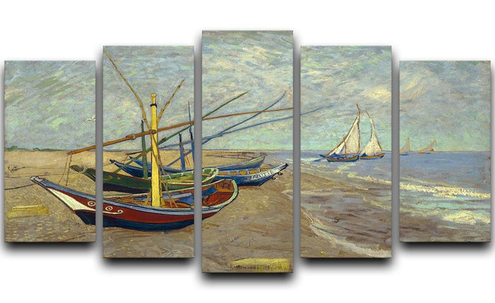 Fishing boats at Sainte Marie 5 Split Panel Canvas