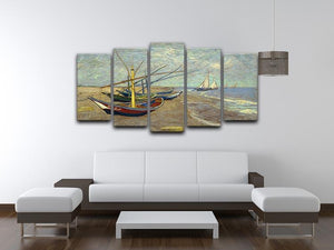 Fishing boats at Sainte Marie 5 Split Panel Canvas - Canvas Art Rocks - 3