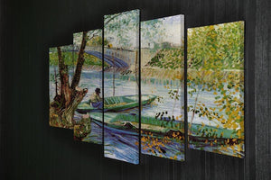 Fishing in Spring by Van Gogh 5 Split Panel Canvas - Canvas Art Rocks - 2