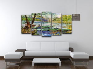 Fishing in Spring by Van Gogh 5 Split Panel Canvas - Canvas Art Rocks - 3