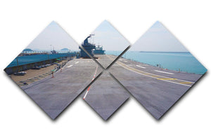 Flight deck of an aircraft carrier 4 Square Multi Panel Canvas  - Canvas Art Rocks - 1