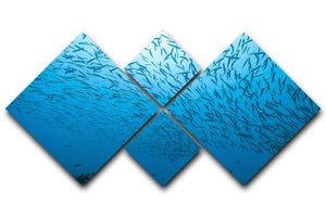 Flock of fish flowing 4 Square Multi Panel Canvas  - Canvas Art Rocks - 1