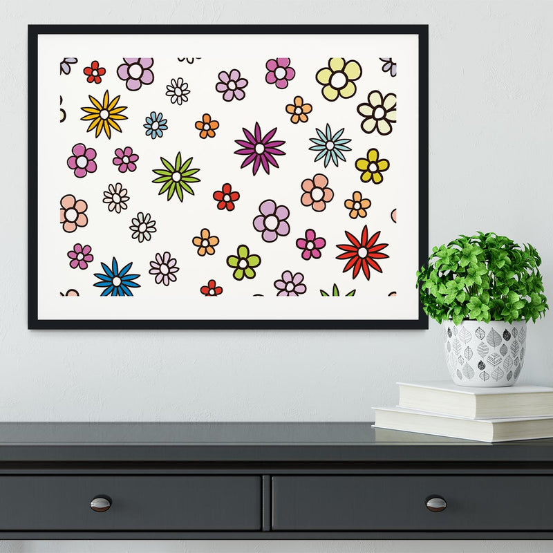 Floral Repeat Framed Print - Canvas Art Rocks - 1