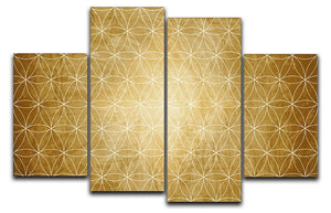Flower Geometry 4 Split Panel Canvas - Canvas Art Rocks - 1