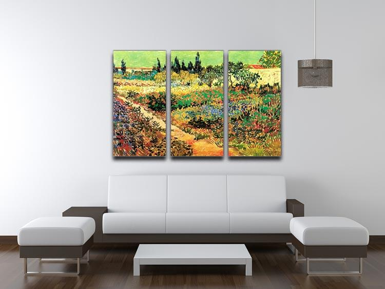 Flowering Garden with Path by Van Gogh 3 Split Panel Canvas Print - Canvas Art Rocks - 4