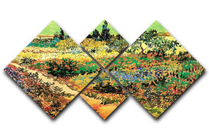 Flowering Garden with Path by Van Gogh 4 Square Multi Panel Canvas  - Canvas Art Rocks - 1