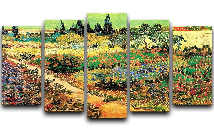 Flowering Garden with Path by Van Gogh 5 Split Panel Canvas
