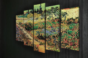 Flowering Garden with Path by Van Gogh 5 Split Panel Canvas - Canvas Art Rocks - 2