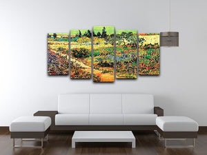 Flowering Garden with Path by Van Gogh 5 Split Panel Canvas - Canvas Art Rocks - 3