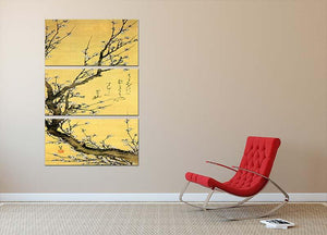 Flowering plum by Hokusai 3 Split Panel Canvas Print - Canvas Art Rocks - 2