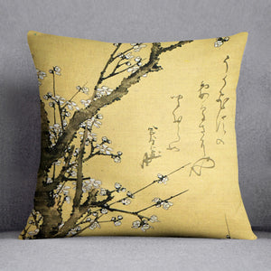 Flowering plum by Hokusai Cushion