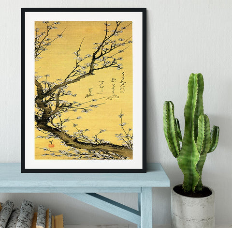 Flowering plum by Hokusai Framed Print - Canvas Art Rocks - 1