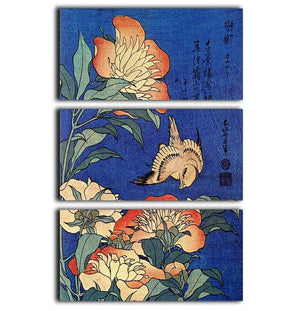 Flowers by Hokusai 3 Split Panel Canvas Print - Canvas Art Rocks - 1