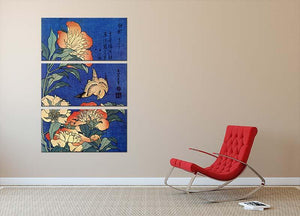 Flowers by Hokusai 3 Split Panel Canvas Print - Canvas Art Rocks - 2