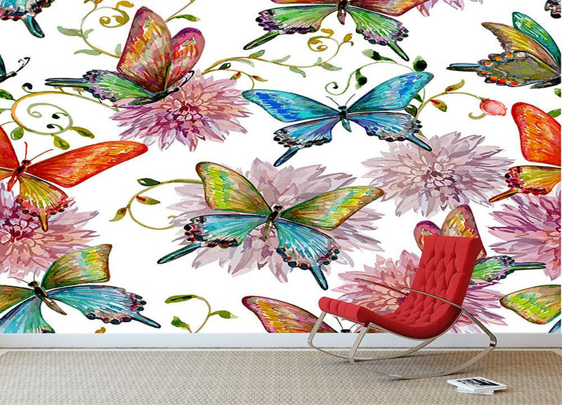 Flying butterflies Wall Mural Wallpaper - Canvas Art Rocks - 1
