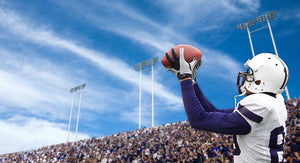 Football Player catching a Touchdown Wall Mural Wallpaper - Canvas Art Rocks - 1