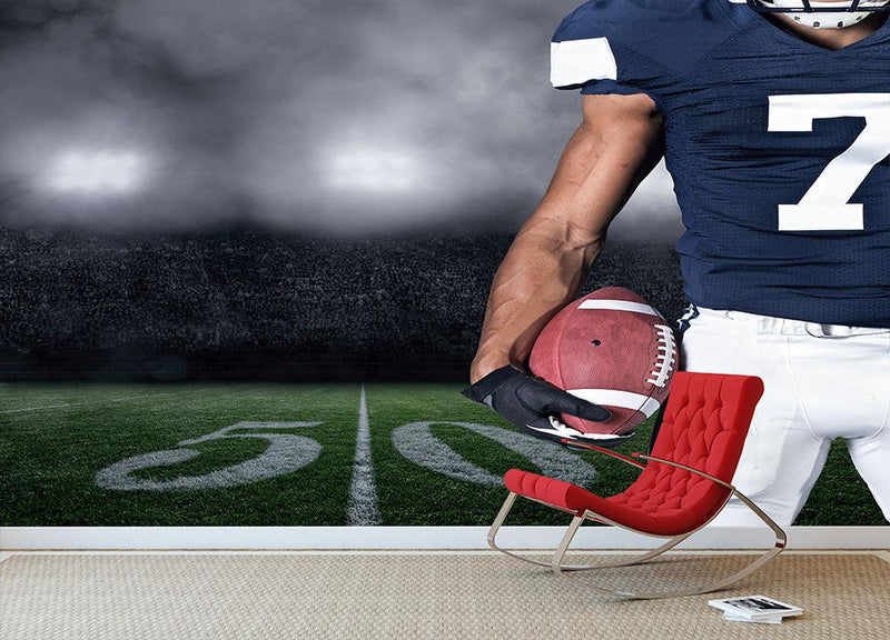 Football Player on at the Stadium Wall Mural Wallpaper - Canvas Art Rocks - 1