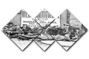 Football fans queue on the morning of a F.A. Cup match 1920 4 Square Multi Panel Canvas - Canvas Art Rocks - 1