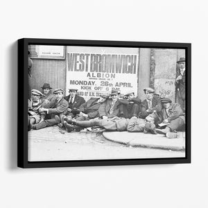 Football fans queue on the morning of a F.A. Cup match 1920 Floating Framed Canvas - Canvas Art Rocks - 1