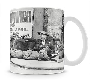 Football fans queue on the morning of a F.A. Cup match 1920 Mug - Canvas Art Rocks - 1
